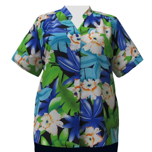 Blue & Green Hibiscus Mandarin Collar V-Neck Tunic Women's Plus Size Blouse