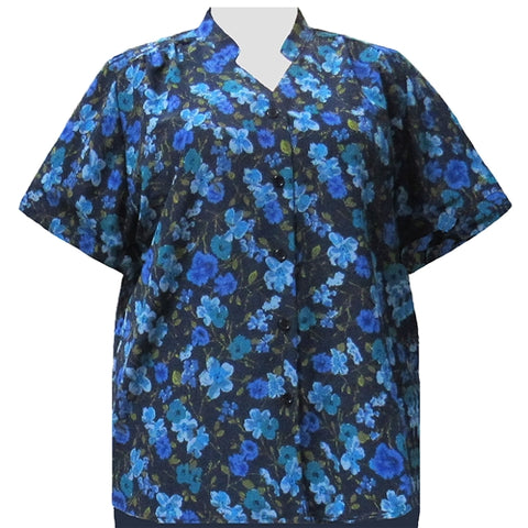 Blue Happy Days Mandarin Collar V-Neck Tunic Women's Plus Size Blouse