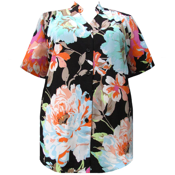 Short Sleeve Mandarin Collar V-Neck Tunic