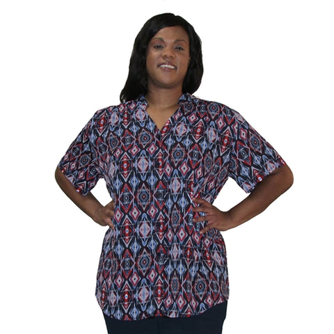 Blue & Red Diamonds Mandarin Collar V-Neck Tunic Women's Plus Size Blouse