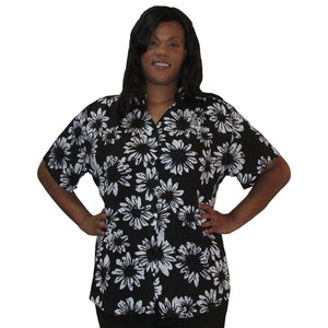 Black & White Sunflowers Mandarin Collar V-Neck Tunic Women's Plus Size Blouse