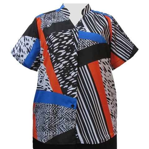 Black/White & Orange Skin Mandarin Collar V-Neck Tunic Women's Plus Size Blouse
