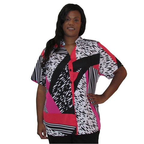 Black/White & Pink Skin Mandarin Collar V-Neck Tunic Women's Plus Size Blouse