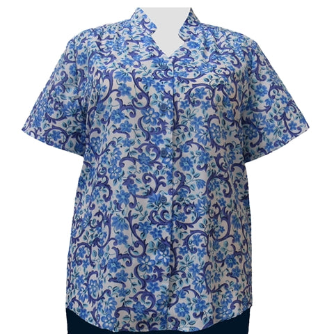 Blue & White Trellis Floral Mandarin Collar V-Neck Tunic Women's Plus Size Blouse