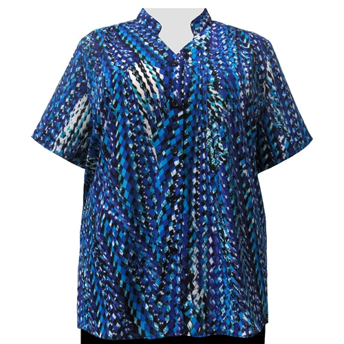 Cobalt Harlequin Mandarin Collar V-Neck Tunic Women's Plus Size Blouse