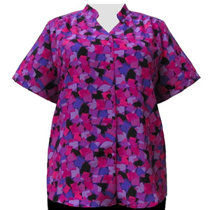 Fuchsia Cubes Mandarin Collar V-Neck Tunic Women's Plus Size Blouse