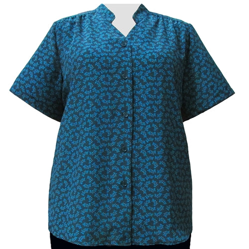 Green Trinity Mandarin Collar V-Neck Tunic Women's Plus Size Blouse