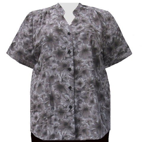 Grey Maura Mandarin Collar V-Neck Tunic Women's Plus Size Blouse