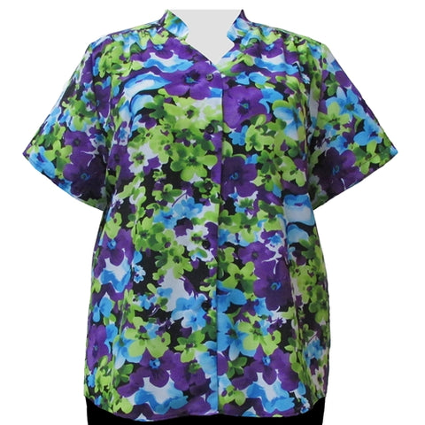 Kiki Mandarin Collar V-Neck Tunic Women's Plus Size Blouse