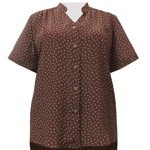 Leah Brown Mandarin Collar V-Neck Tunic Women's Plus Size Blouse