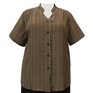 Langley Mandarin Collar V-Neck Tunic Women's Plus Size Blouse