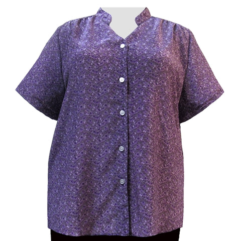 Lilac Trellis Mandarin Collar V-Neck Tunic Women's Plus Size Blouse