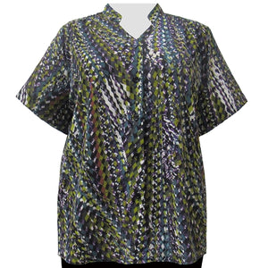Multi Harlequin Mandarin Collar V-Neck Tunic Women's Plus Size Blouse