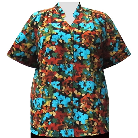 Multi Marigolds Mandarin Collar V-Neck Tunic Women's Plus Size Blouse