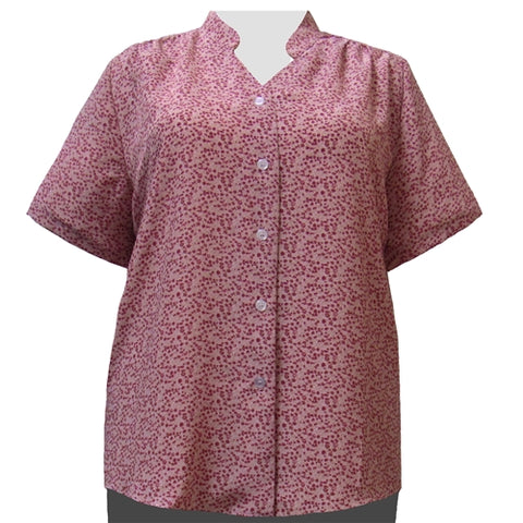 Mauve Kris Mandarin Collar V-Neck Tunic Women's Plus Size Blouse
