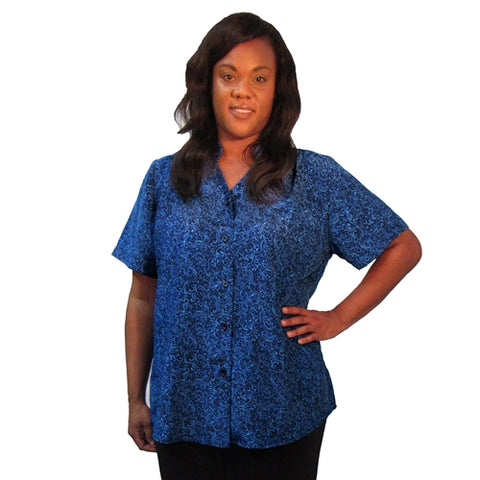 Navy Flourish Mandarin Collar V-Neck Tunic Women's Plus Size Blouse