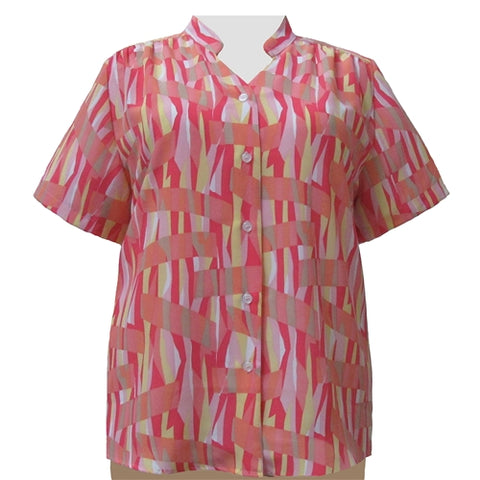 Coral Pageant Mandarin Collar V-Neck Tunic Women's Plus Size Blouse