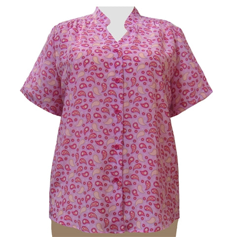 Pink Pasha Mandarin Collar V-Neck Tunic Women's Plus Size Blouse