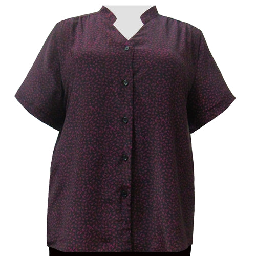 Plum Leaves Mandarin Collar V-Neck Tunic Women's Plus Size Blouse