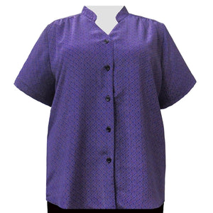Purple Diamonds Mandarin Collar V-Neck Tunic Women's Plus Size Blouse