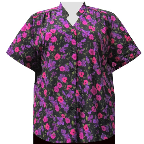 Purple Happy Days Mandarin Collar V-Neck Tunic Women's Plus Size Blouse