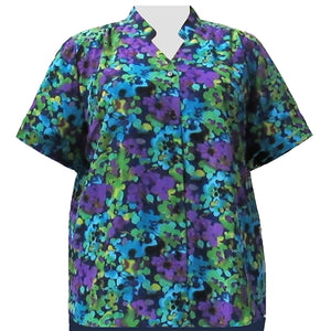 Purple Marigolds Mandarin Collar V-Neck Tunic Women's Plus Size Blouse