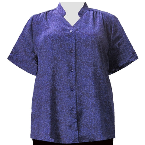 Purple Reagan Mandarin Collar V-Neck Tunic Women's Plus Size Blouse