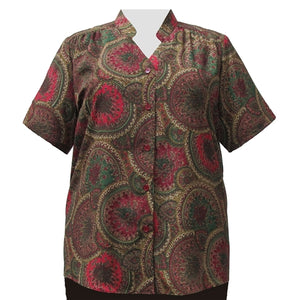 Spiral Paisley Mandarin Collar V-Neck Tunic Women's Plus Size Blouse