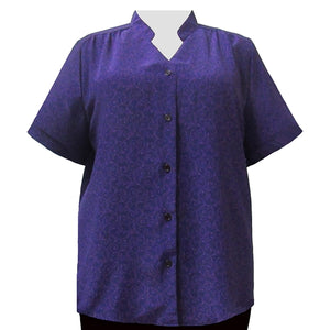 Tila Purple Mandarin Collar V-Neck Tunic Women's Plus Size Blouse