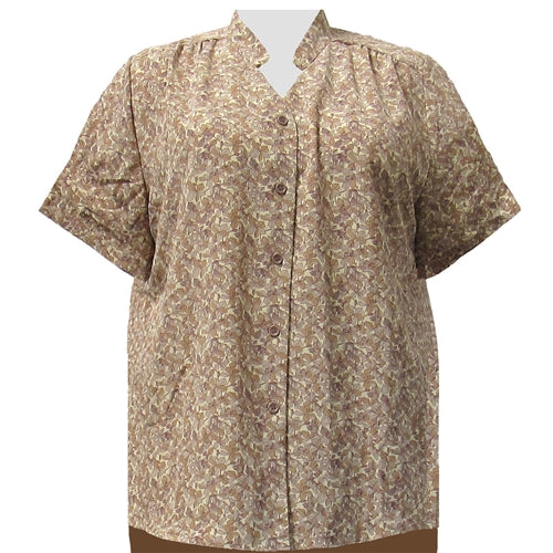 Tan Stella Mandarin Collar V-Neck Tunic Women's Plus Size Blouse