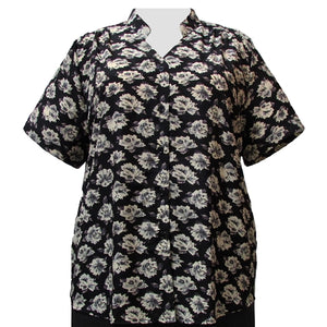Black Floral Mandarin Collar V-Neck Tunic Women's Plus Size Blouse