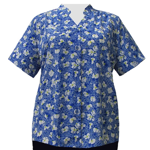 Blue & White Floral Mandarin Collar V-Neck Tunic Women's Plus Size Blouse