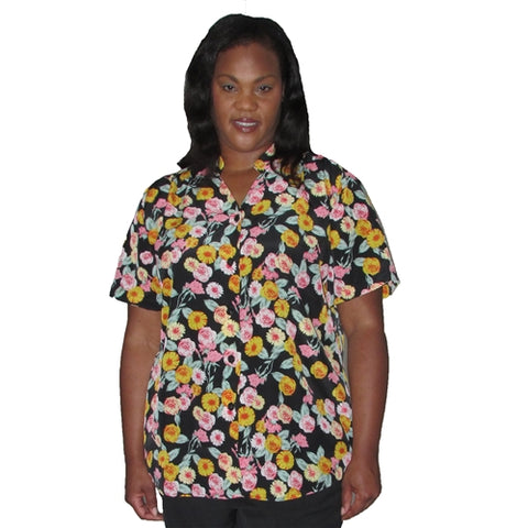 Chrysanthemum Bouquet Mandarin Collar V-Neck Tunic Women's Plus Size Blouse