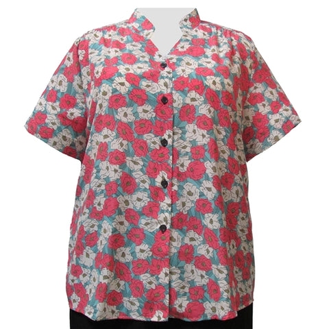 Retro Garden Mandarin Collar V-Neck Tunic Women's Plus Size Blouse