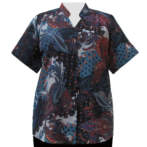 Blue Abstract Paisley Mandarin Collar V-Neck Tunic Women's Plus Size Blouse