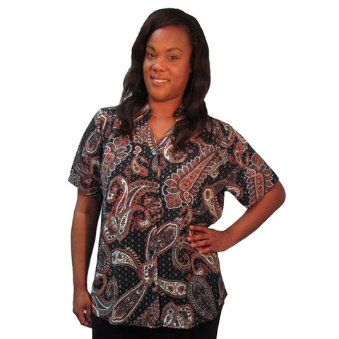 Brown Bombay Mandarin Collar V-Neck Tunic Women's Plus Size Blouse