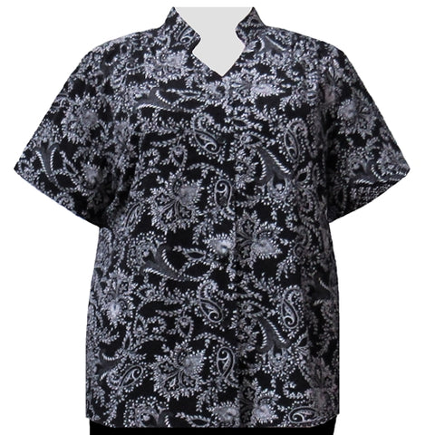 Black & White Paisley Floral Mandarin Collar V-Neck Tunic Women's Plus Size Blouse