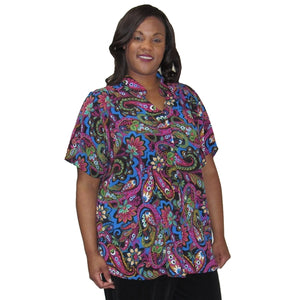 Fuchsia Indian Dream Mandarin Collar V-Neck Tunic Women's Plus Size Blouse