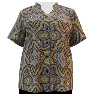 Gold Mandala Mandarin Collar V-Neck Tunic Women's Plus Size Blouse