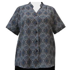 Green Kilim Mandarin Collar V-Neck Tunic Women's Plus Size Blouse