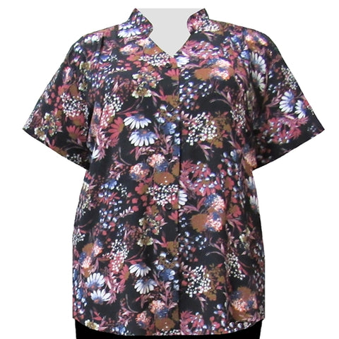 Mauve Meadow Mandarin Collar V-Neck Tunic Women's Plus Size Blouse