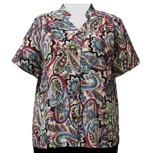 Neutral Indian Dream Mandarin Collar V-Neck Tunic Women's Plus Size Blouse