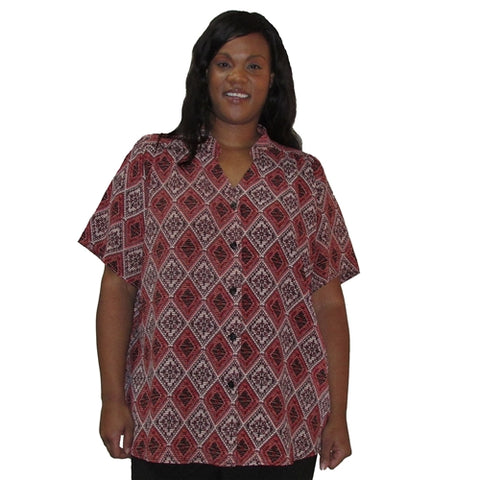 Rust Kilim Mandarin Collar V-Neck Tunic Women's Plus Size Blouse