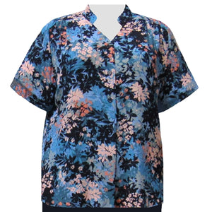 Slate Wildflowers Mandarin Collar V-Neck Tunic Women's Plus Size Blouse
