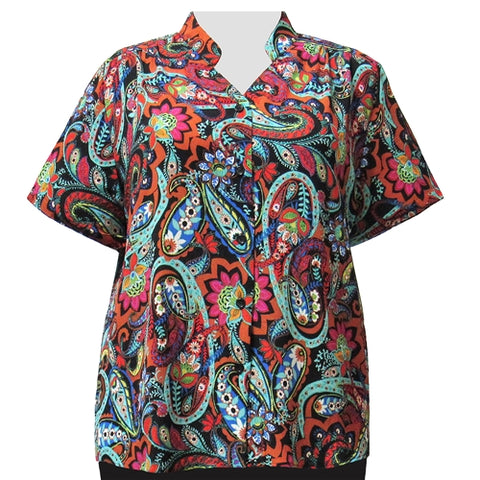 Spice Indian Dream Mandarin Collar V-Neck Tunic Women's Plus Size Blouse