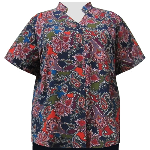 Spice Paisley Floral Mandarin Collar V-Neck Tunic Women's Plus Size Blouse