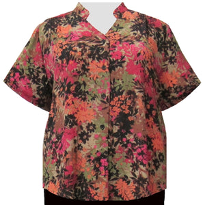 Spice Wildflowers Mandarin Collar V-Neck Tunic Women's Plus Size Blouse