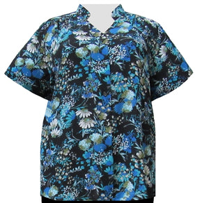 Teal Meadow Mandarin Collar V-Neck Tunic Women's Plus Size Blouse