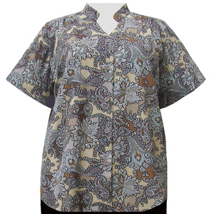 Taupe Paisley Floral Mandarin Collar V-Neck Tunic Women's Plus Size Blouse