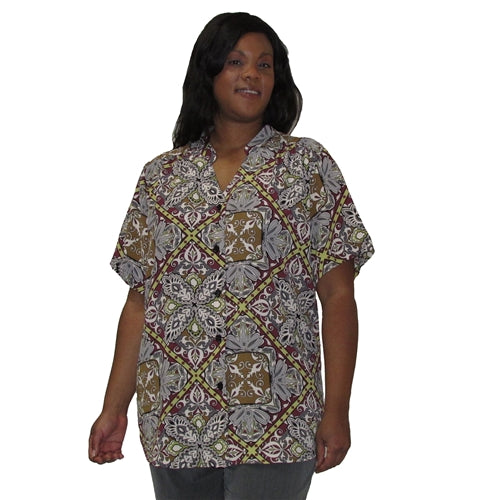 Wine Tapestry Mandarin Collar V-Neck Tunic Women's Plus Size Blouse